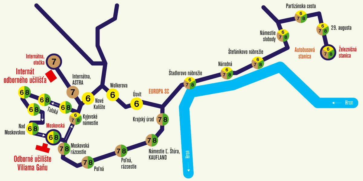 Mapa trasy trolejbusov č. 8, 7 a 6