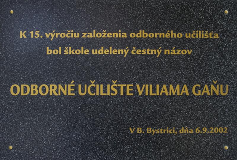 Udelenie čestného názvu Odborné učilište Viliama Gaňu